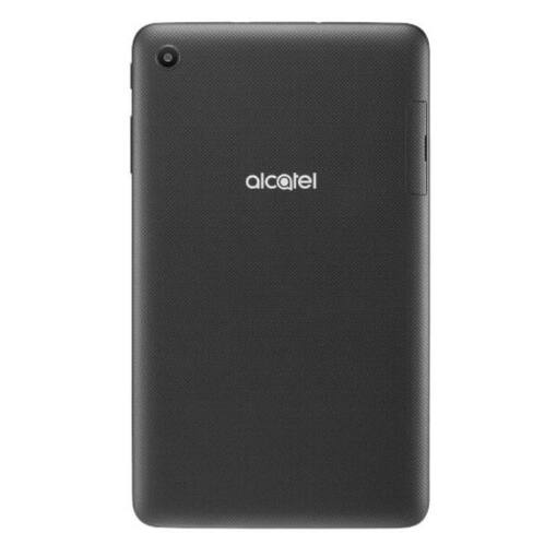 Tablet marca alcatel color negro vertical con logo en plateado vista desde atras