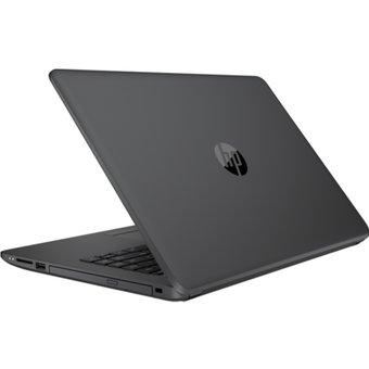 portatil marca hp de color negro visto desde atrás fondo totalmente blanco