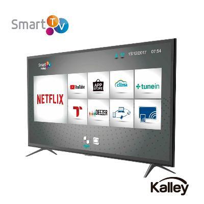 smart tv marca Kalley visto desde el frente con una imagen del menu smart en la pantalla y marco color negro