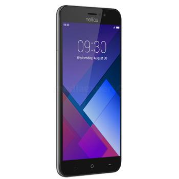 telefono smartphone marca neffos color negro con imagen y la hora en la pantalla