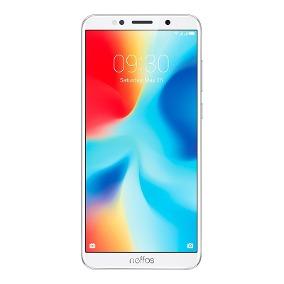 Teléfono celular smartphone blanco marca neffos pantalla con textura de varios colores