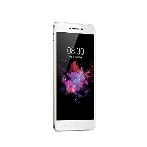 Smartphone de frente color blanco, marca Neffos con una imagen en pantalla de textura de colores y fondo negro