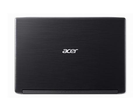 computador portatil marca acer color negro visto desde atras con el logo en plateado