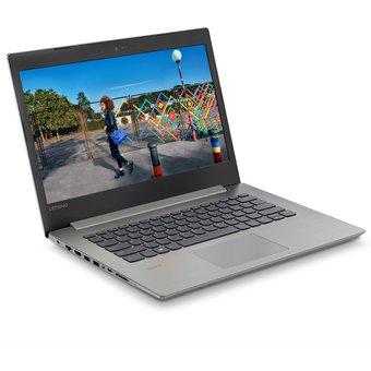 portatil marca lenovo color plata visto desde el frente en diagonal con una imagen en la pantalla