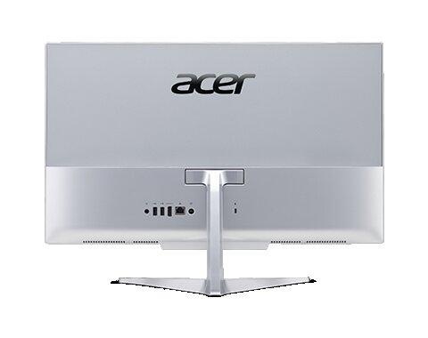 computador todo en uno marca acer visto desde atras color plata